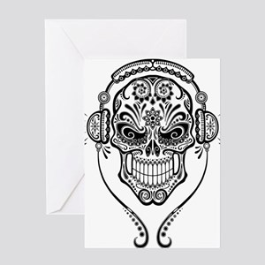 DJ Sugar Skull Greeting Cards
