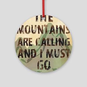 John Muir Mountains Round Ornament