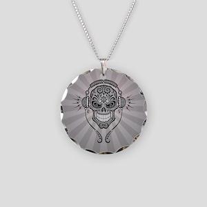 DJ Sugar Skull Gray Rays Necklace Circle Charm