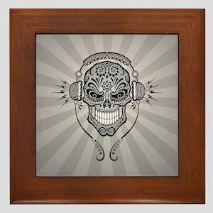 DJ Sugar Skull Gray Rays Framed Tile