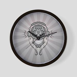 DJ Sugar Skull Gray Rays Wall Clock