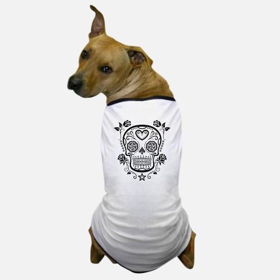 Black Sugar Skull with Roses Dog T-Shirt