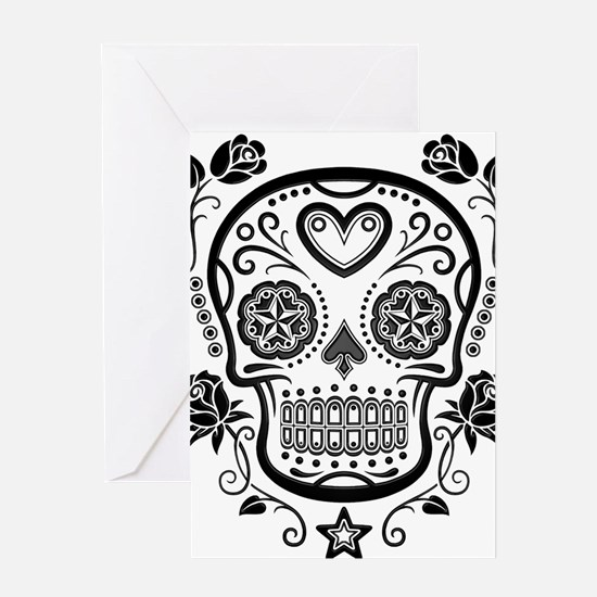 Black Sugar Skull with Roses Greeting Cards