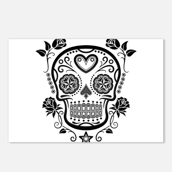 Black Sugar Skull with Roses Postcards (Package of