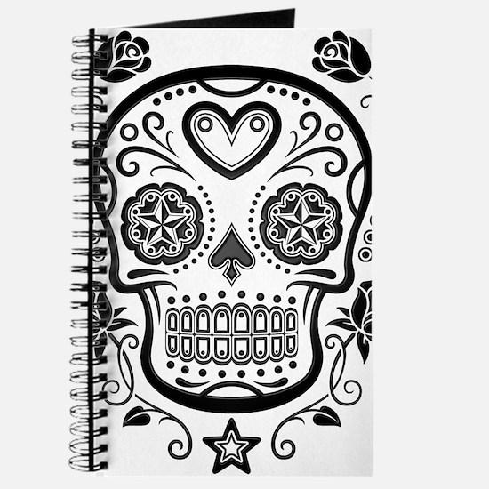 Black Sugar Skull with Roses Journal