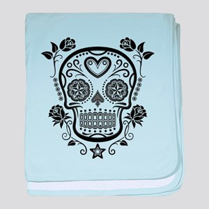 Black Sugar Skull with Roses baby blanket