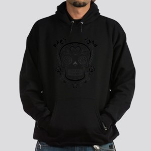 Black Sugar Skull with Roses Hoodie