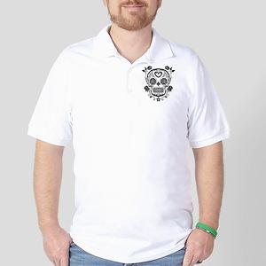 Black Sugar Skull with Roses Golf Shirt