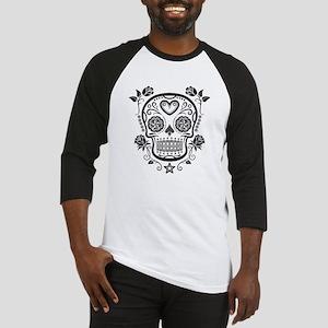Black Sugar Skull with Roses Baseball Jersey