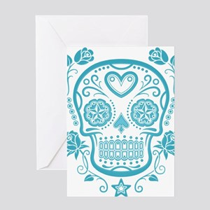 Blue Sugar Skull with Roses Greeting Cards