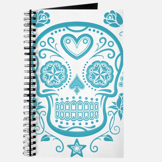 Blue Sugar Skull with Roses Journal