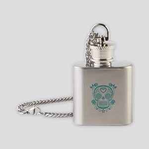 Blue Sugar Skull with Roses Flask Necklace
