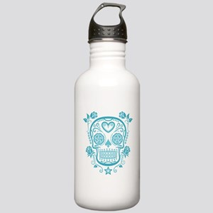 Blue Sugar Skull with Roses Water Bottle