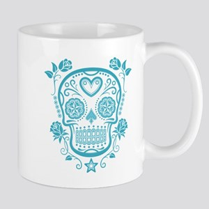 Blue Sugar Skull with Roses Mugs