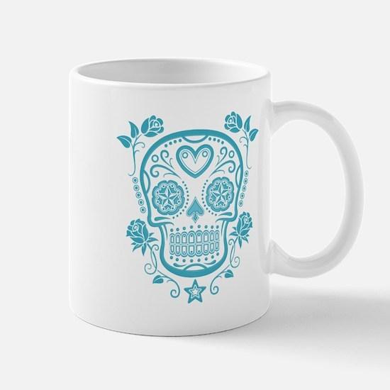 Blue Sugar Skull with Roses Mugs
