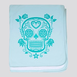 Blue Sugar Skull with Roses baby blanket
