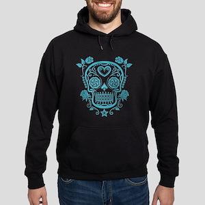 Blue Sugar Skull with Roses Hoodie