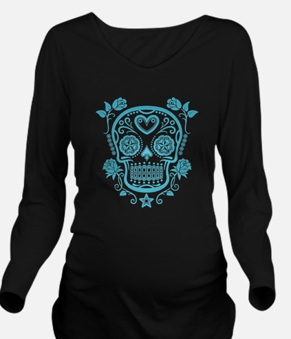 Blue Sugar Skull with Roses Long Sleeve Maternity