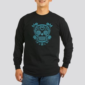 Blue Sugar Skull with Roses Long Sleeve T-Shirt