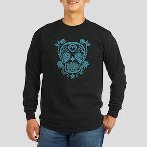 Blue Sugar Skull with Roses Long Sleeve T-Shirt