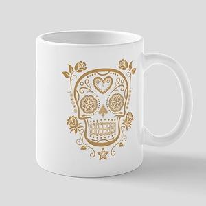 Brown Sugar Skull with Roses Mugs