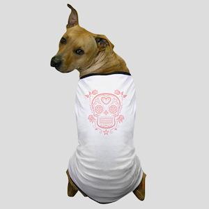 Pink Sugar Skull with Roses Dog T-Shirt