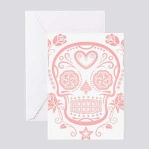 Pink Sugar Skull with Roses Greeting Cards