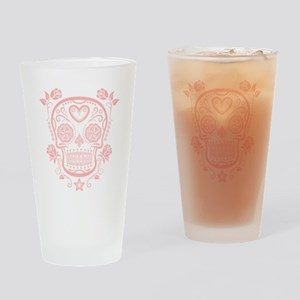 Pink Sugar Skull with Roses Drinking Glass