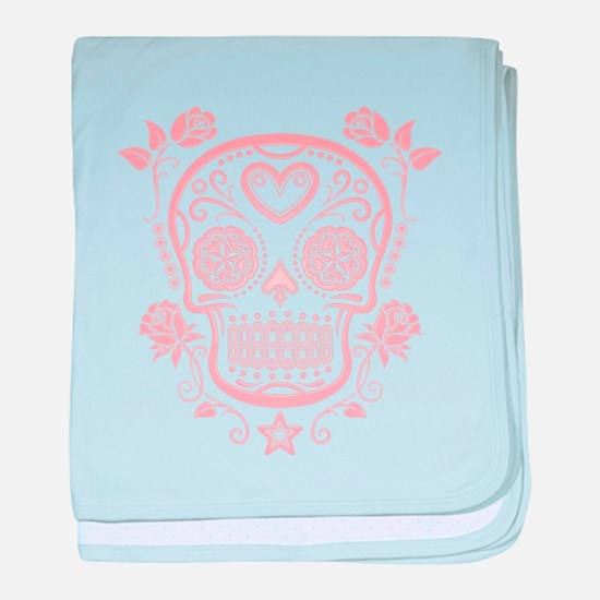 Pink Sugar Skull with Roses baby blanket