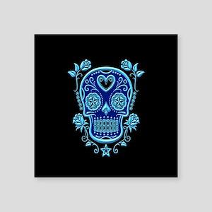 Blue Sugar Skull with Roses on Black Sticker