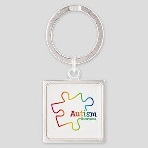 Rainbow Gradient Autism Square Keychain