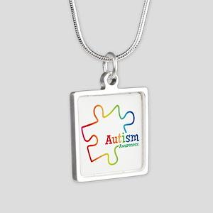 Rainbow Gradient Autism Silver Square Necklace