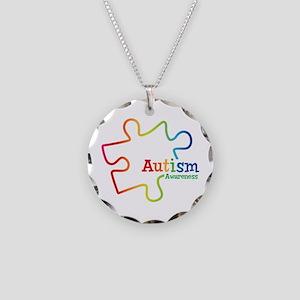 Rainbow Gradient Autism Necklace Circle Charm