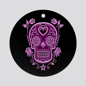 Pink Sugar Skull with Roses on Black Ornament (Rou
