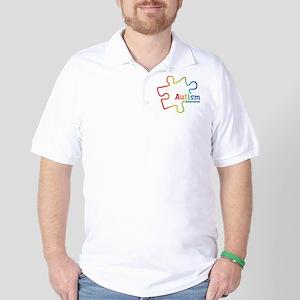 Rainbow Gradient Autism Golf Shirt
