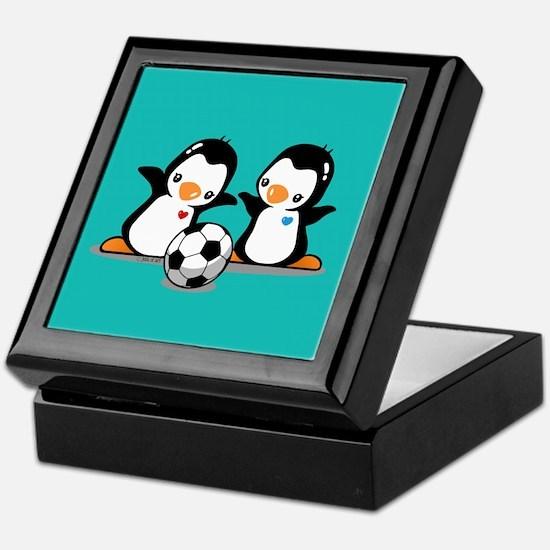 Soccer Penguins Keepsake Box