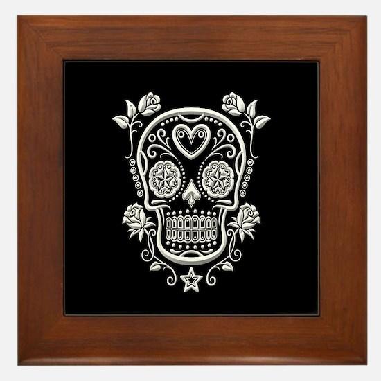 White Sugar Skull with Roses on Black Framed Tile