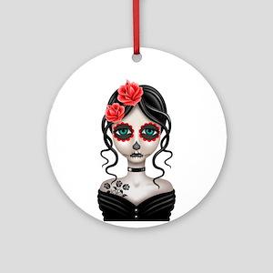 Sad Day of the Dead Girl White Ornament (Round)