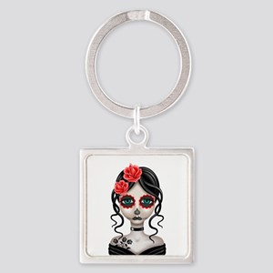 Sad Day of the Dead Girl White Keychains