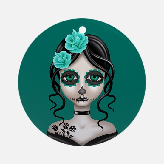 Sad Day of the Dead Girl Teal Blue Ornament (Round