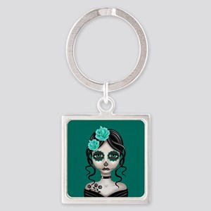 Sad Day of the Dead Girl Teal Blue Keychains
