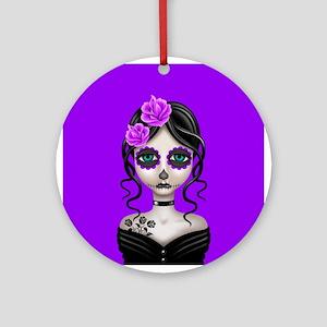 Sad Day of the Dead Girl Purple Ornament (Round)