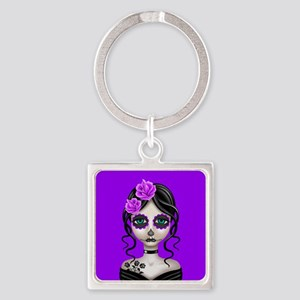 Sad Day of the Dead Girl Purple Keychains