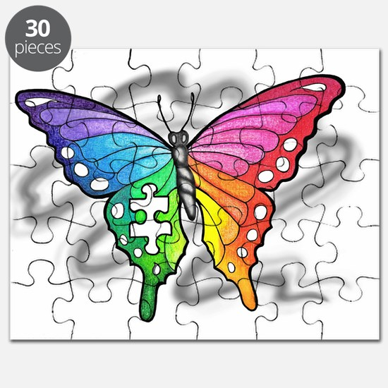 Rainbow butterfly with Puzzle piece Puzzle