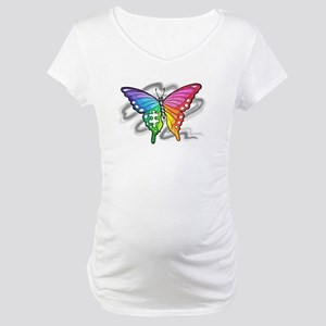 Rainbow butterfly with Puzzle piece Maternity T-Sh