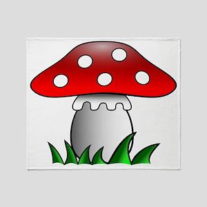 Cartoon Mushroom Throw Blanket