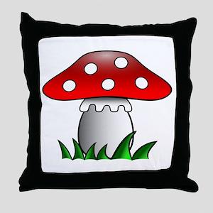 Cartoon Mushroom Throw Pillow