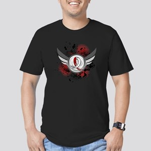 MDS Grunge Ribbon Wing Men's Fitted T-Shirt (dark)
