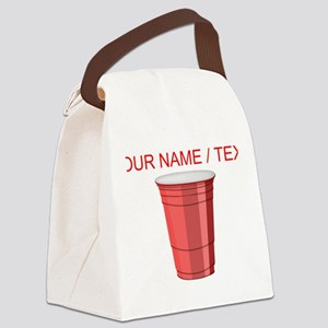 Custom Red Plastic Cup Canvas Lunch Bag