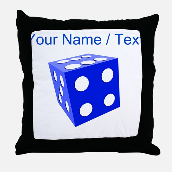 Custom Blue Dice Throw Pillow